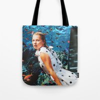 kate moss Tote Bags featuring Kate Moss by John Turck