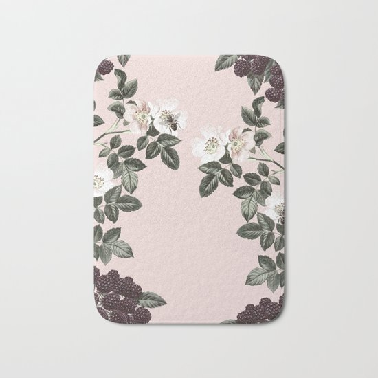 Bees + Blackberries on Pale Pink Bath Mat