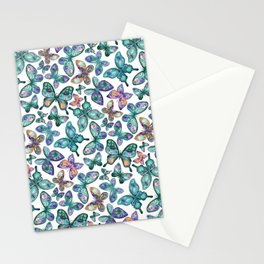 Watercolor Fruit Patterned Butterflies - Forest Green, Orange, Purple - custom request Stationery Cards