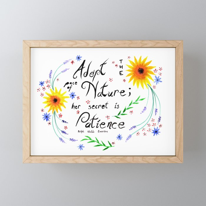 Pace of Nature Watercolor Typography with Flowers Framed Mini Art Print