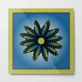 Blue Stitched Flower Metal Print