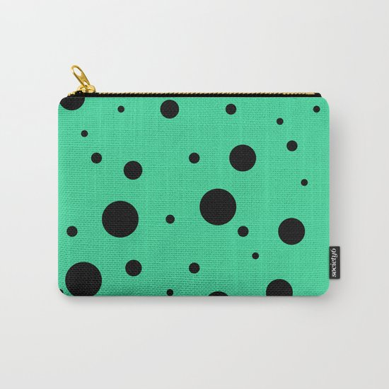 Black Bubbles On Green Carry-All Pouch