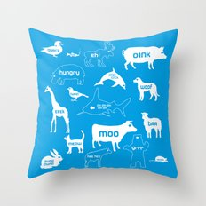 Animal Noises in Blue Throw Pillow