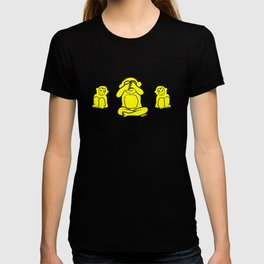 Yellow monkey pattern with covered eyes T-shirt