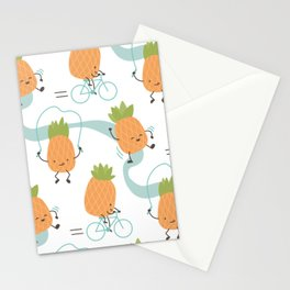 Cartoon pineapples Stationery Cards