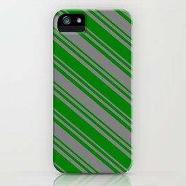 Green & Gray Colored Stripes Pattern iPhone Case