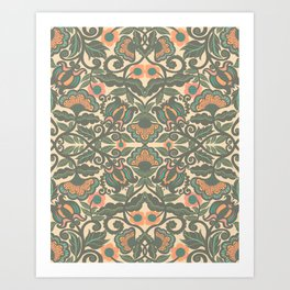 Green Vines Folk Art Flowers Pattern Art Print