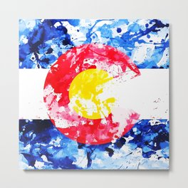 Colorado Watercolor Flag Metal Print