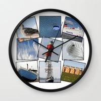 nautical Wall Clocks featuring Nautical by Anne Seltmann