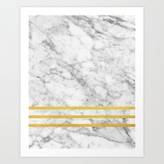 Marble & Gold Stripes Art Print