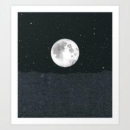 Grey Moonscape Art Print