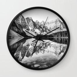 Moraine Lake Reflection Black and White Wall Clock