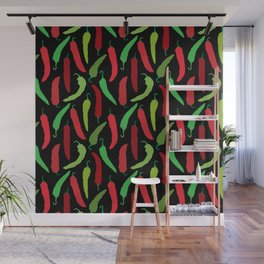 New Mexico Christmas Hatch Chiles in Black Wall Mural