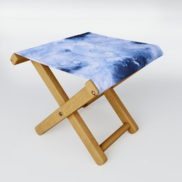 Marbled Water Blue Folding Stool
