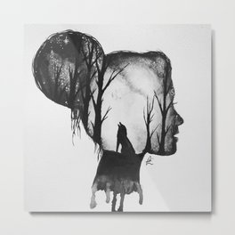 All in her Head in black and white Metal Print