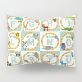 ABC alphabet for kids from A to Z. Set of funny cartoon animals character. zoo Pillow Sham