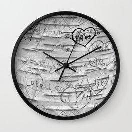 Love Memories in Lover's Lane, Green Gables, black white Wall Clock