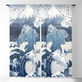 Japan Vintage Art Koi Fuji Blackout Curtain