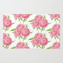 Peony bouquet watercolor pattern Rug