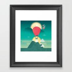 Sun, Moon & Balloon Framed Art Print