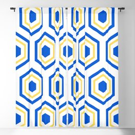 The Hive - Blue-Yellow-Blue Hexagons on White Background Blackout Curtain