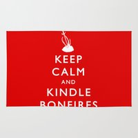 kindle Area & Throw Rugs featuring Keep Calm & Kindle Bonfires by Zach Shonkwiler