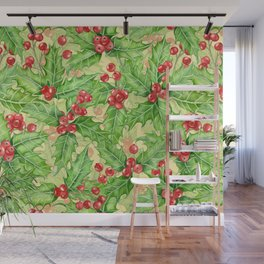 Holly berry watercolor Christmas pattern Wall Mural