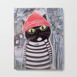 Mittens Ponders the Fibonacci Sequence Metal Print
