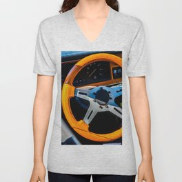 Steering Wheel Of A Sports Car Color Unisex V-Neck