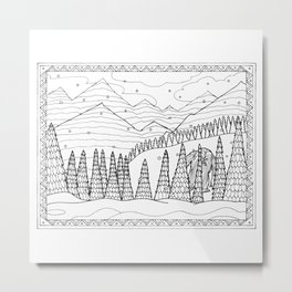 Yeti from the Bestiary Coloring Book Metal Print