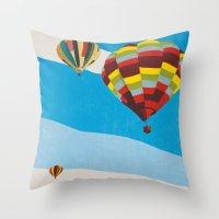 hot air balloons Throw Pillows featuring Three Hot Air Balloons by Shelley Chandelier