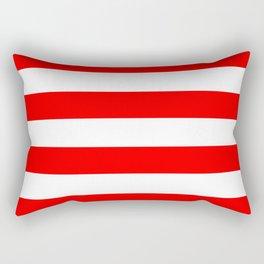 Australian Flag Red and White Wide Horizontal Cabana Tent Stripe Rectangular Pillow