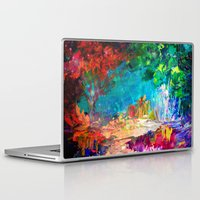jazzberry Laptop & iPad Skins featuring WELCOME TO UTOPIA Bold Rainbow Multicolor Abstract Painting Forest Nature Whimsical Fantasy Fine Art by EbiEmporium