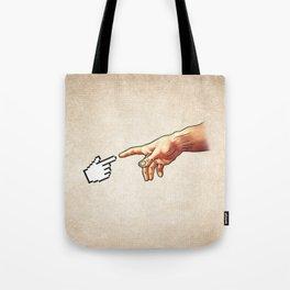 Funny 8bit Nerd & Geek Humor (Creation of Adam Parody) Tote Bag