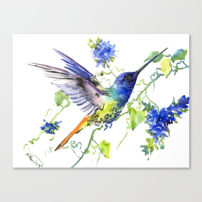 Hummingbird And Deep Blue Flowers Flying Bird Flowers Design Birds And Flowers Canvas Print By Sureart