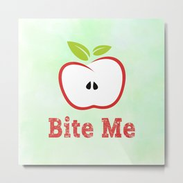 Red Apple Illustration - Bite Me Typography Metal Print