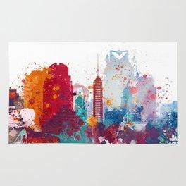 Colorful Sacramento watercolor skyline Rug