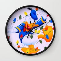 donald duck Wall Clocks featuring Donald Duck Holidays by Brian David