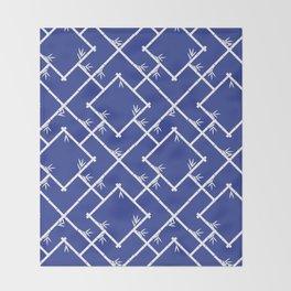 Bamboo Chinoiserie Lattice in Blue + White Throw Blanket