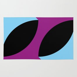 Two 3d seeds being thrown strongly, in a purple space. Rug
