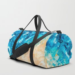 Deep | Abstract blue turquoise ocean beach acrylic brushstrokes painting Duffle Bag