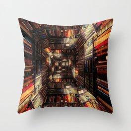 Bookshelf Books Library Bookworm Reading Pattern Throw Pillow