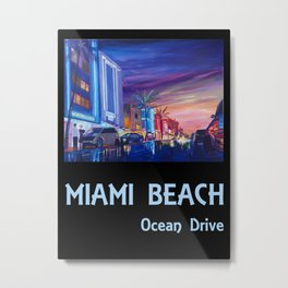 Miami Beach Ocean Drive Retro Poster - South Beach Metal Print