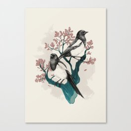 Magpies on Oak Canvas Print