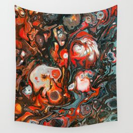 Dirty Acrylic Paint Pour 22, Fluid Art Reproduction Wall Tapestry