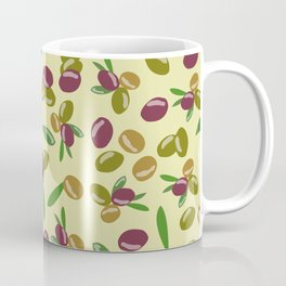 Rustic Olive and Olive Leaves Pattern Coffee Mug