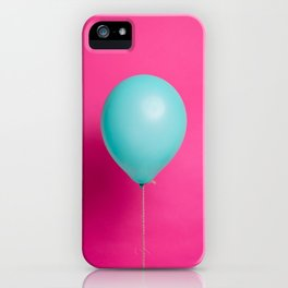 Teal balloon on pink backdrop iPhone Case