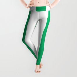 GO green - solid color - white vertical lines pattern Leggings