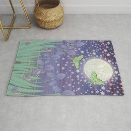 Moonlit stars, luna moths, snails, & irises Rug
