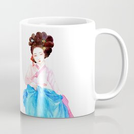 Watercolor Korean beauty - Pink&Blue Coffee Mug